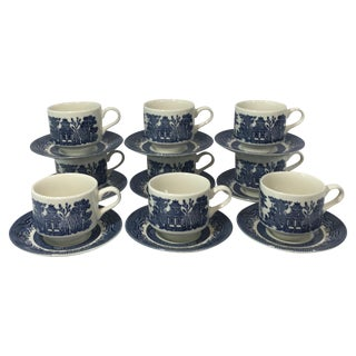 Blue Willow Teacups and Saucers - Set of 9