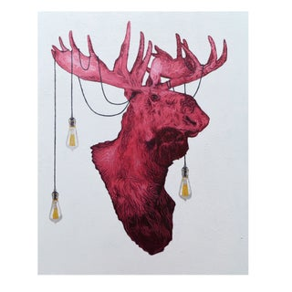 Original Oil on Canvas - Moose Lamp
