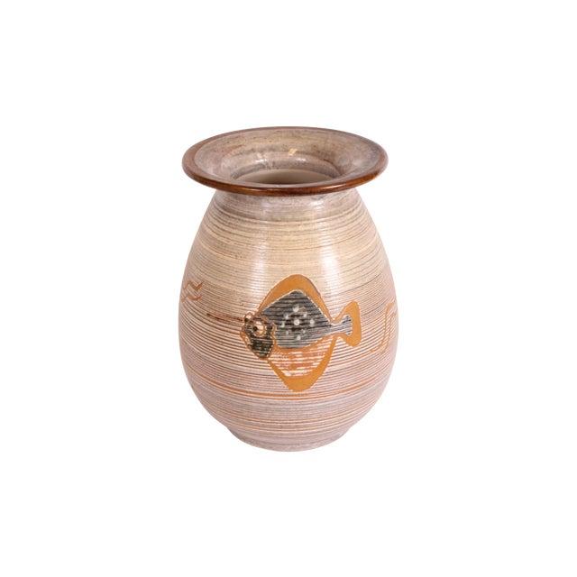 H.F. Gross Ceramic Vase with Fish Motif - Image 1 of 3