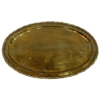 Brass Oval Faux Bamboo Tray