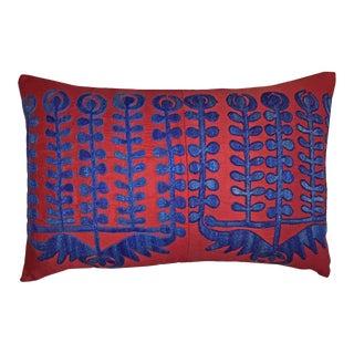 Vintage Blue & Red Uzbekistan Shrub Samarkand Accent Pillow