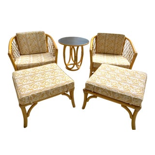 Rattan Lounge Chairs Ottomans & Table - Set of 5