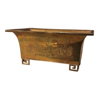 Oriental Etched Brass Planter