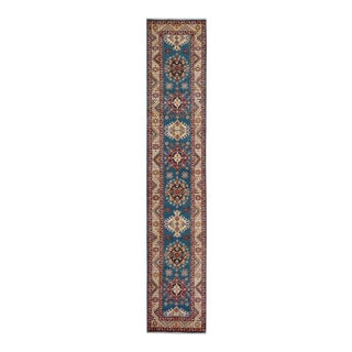 "Kazak Garish Lynwood Blue Ivory Wool Rug - 2'9"" x 14'6"""