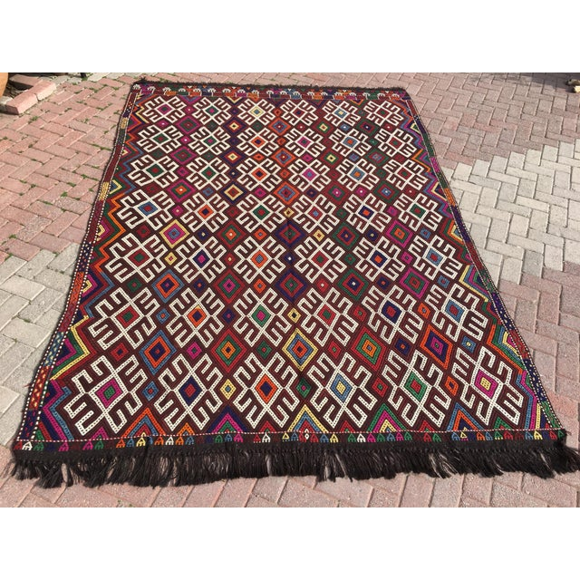 Vintage Turkish Kilim Rug- 7′1″ × 9′10″ - Image 2 of 10