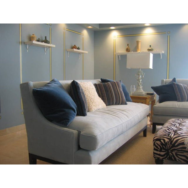 Blue Microfiber Sofa - Image 2 of 5