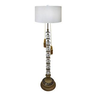 Cut Crystal, Brass & Marble Floor Lamp