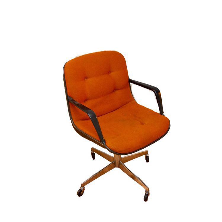 vintage orange steelcase side chair