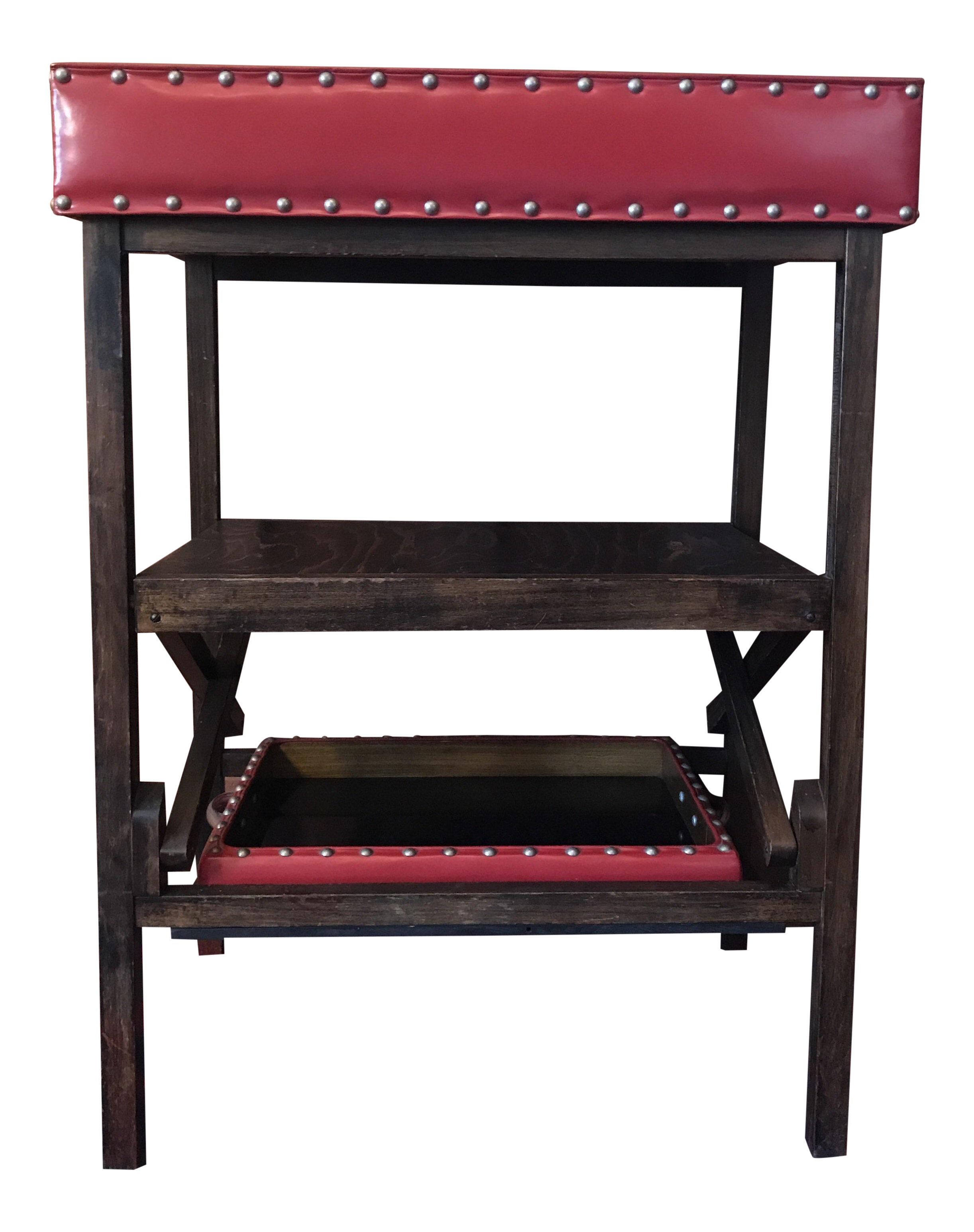 Dry Bar Red Leather With Two Removable Trays Circa 1950s