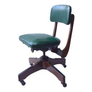 1950s Vintage Gunlocke Walnut Wood Office Chair