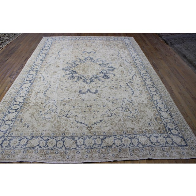 "Vintage Turkish Over-Dyed Cream Rug - 6'7"" x 9'7"" - Image 3 of 8"
