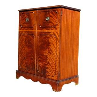 Antique Art Deco Federal Flame Mahogany Petite Liquor Cabinet Mini Bar Rockola