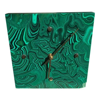 Solid Malachite & Brass Clock
