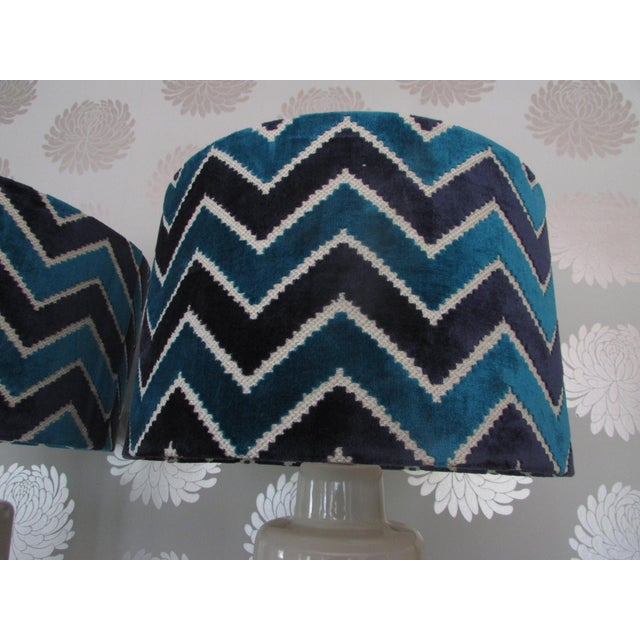Arteriors White Porcelain Table Lamps with Chevron Shades- A Pair - Image 3 of 4