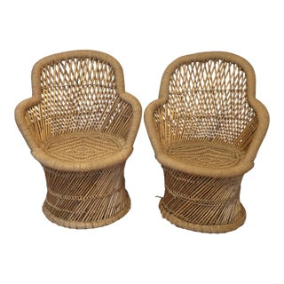 Boho Rattan 70s Inspired Chairs - A Pair