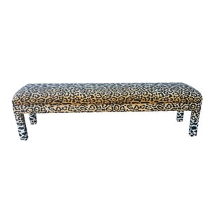 Long Parsons Bench in Velvet Leopard Print
