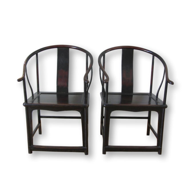 Large Antique Chinese Horse Shoe Back Chairs - 2 - Image 3 of 10