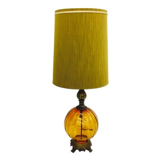 Vintage Mid-Century Rococo Amber Glass Lamp