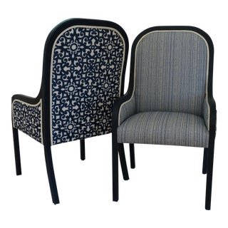 Reupholstered Mid-Century Accent Chairs - A Pair