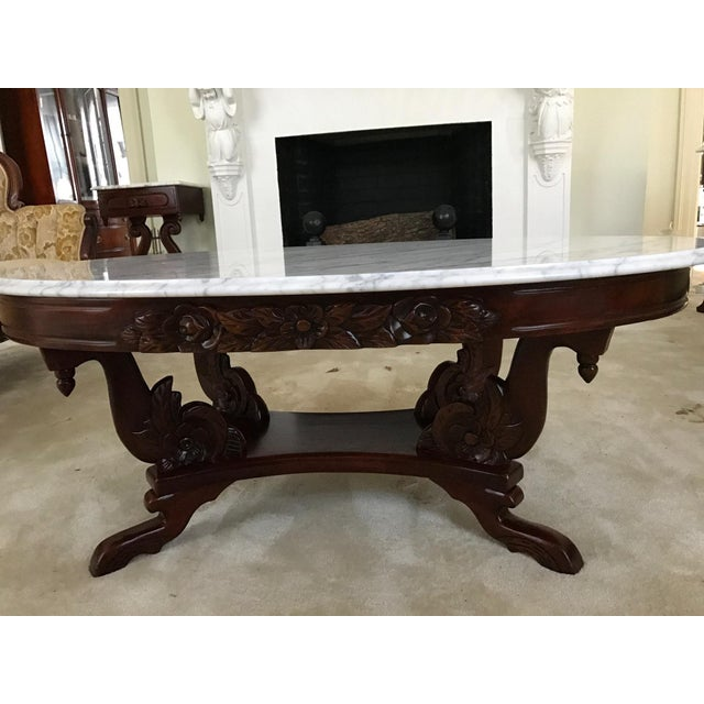 Victorian Style Marble Coffee Table: 1940s Kimball Solid Mahogany Victorian Style Coffee Table