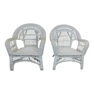 Generic White Outdoor Patio Porch Wicker Armchairs - a Pair