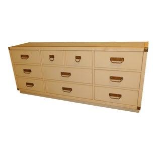 1970s Drexel Dresser White Lacquered Brass/Rattan