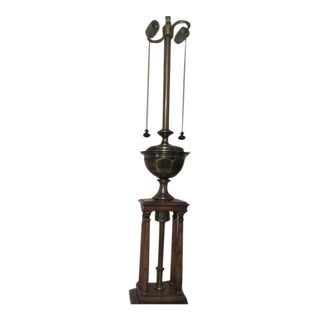 Regency Stiffel Columnar Brass Wood Lamp