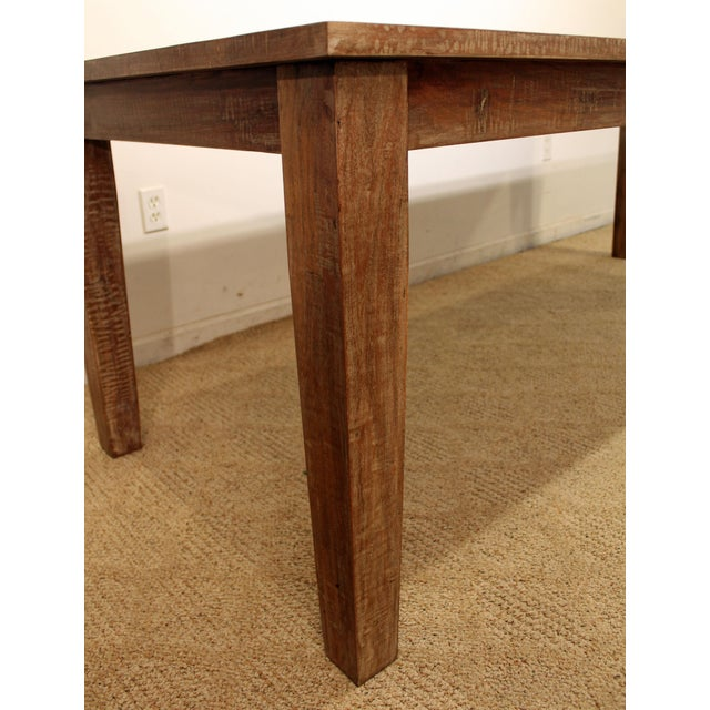 "French Country Farm Rustic Dining Table 90"" Long - Image 5 of 11"