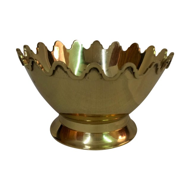 Footed Scalloped Brass Bowl - Image 1 of 4