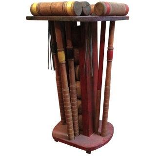 Distressed Wood Croquet Set