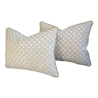 White Velvet Geometric Pillows - A Pair