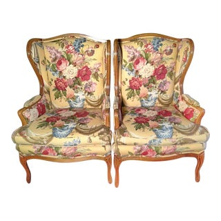 Louis XVI French Provincial Wingback Chairs - A Pair