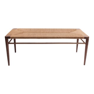 Hand Woven Rush and Walnut Bench by Smilow Furniture