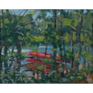 Original Painting of Canoes Stacked by the Water