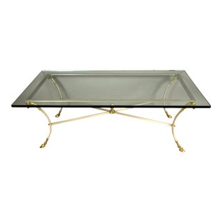 Traditional Hollywood Regency-style Brass and Chrome Coffee Table