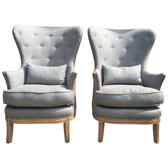 Image of High Back, Blue-Grey Linen Bergere Chairs - Pair