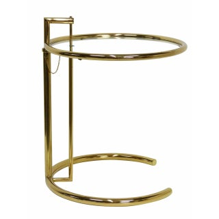 1970s Vintage Eileen Gray Adjustable Brass & Glass Side Table