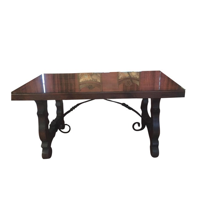Spanish Custom Carved Wrought Iron & Wood Table - Image 1 of 4