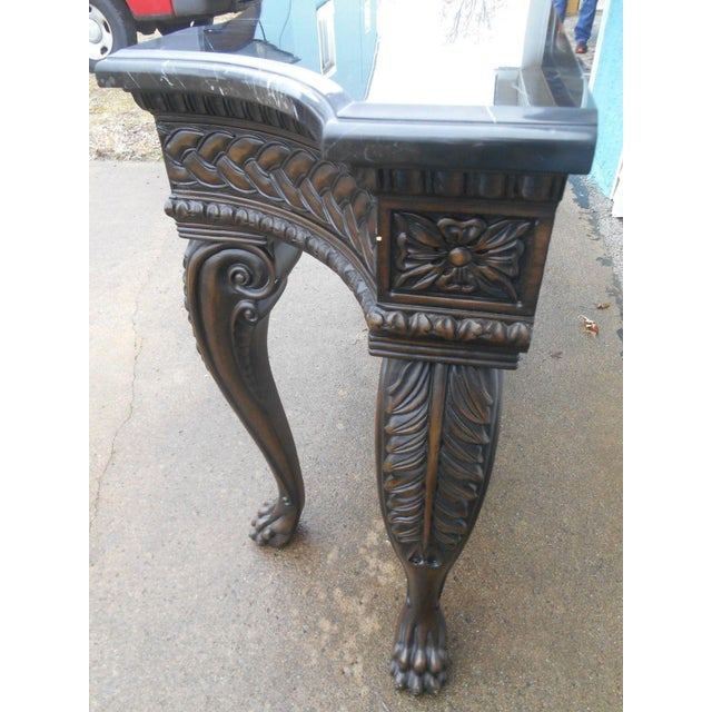 French Rococo Style Carved Wood & Marble Top Console Table - Image 8 of 8
