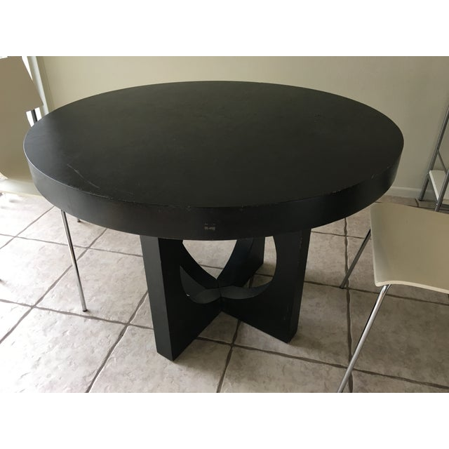 West Elm Black Round Cut Out Dining Table Chairish