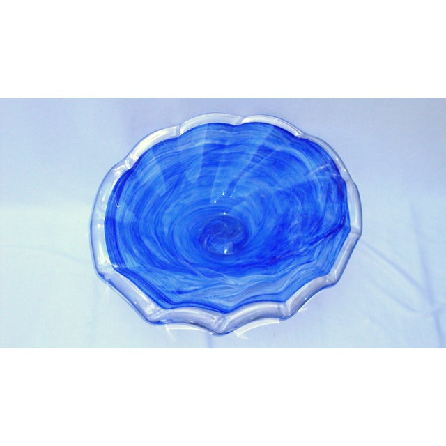 Image of Deco Gothic Murano Blue Silver Wavy Glass Bowl