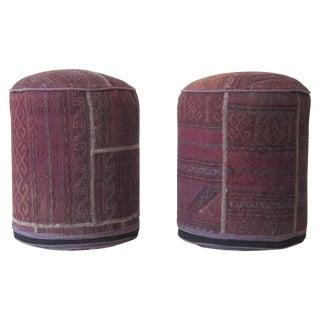 Vintage Kilim Upholstered Stools - Pair