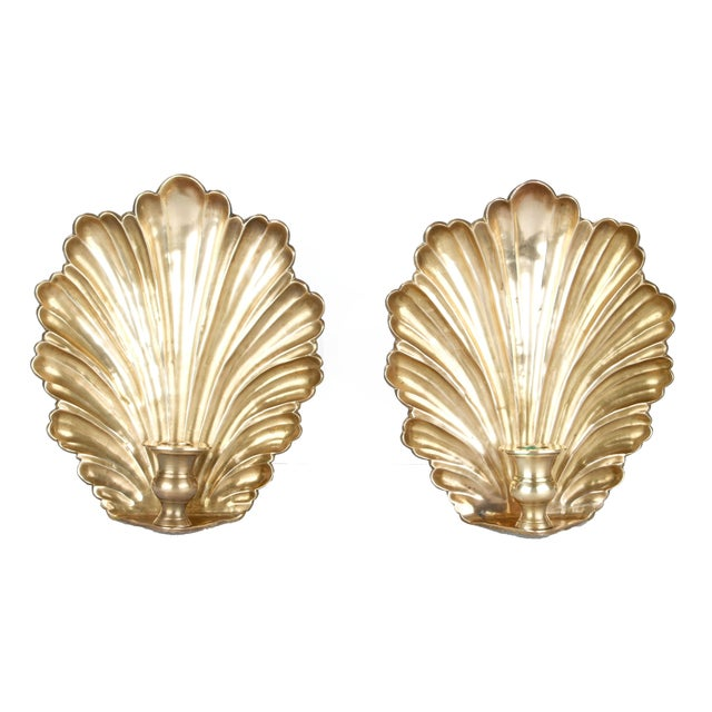 Brass Candle Wall Sconces - Pair - Image 1 of 8