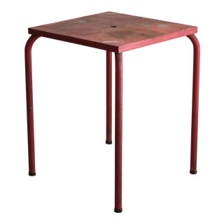 Vintage Red Metal Garden Table