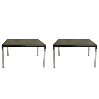 Pair of Smoky Glass and Chrome End Tables