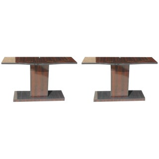 Beautiful Pair Of French Art Deco Exotic Macassar Ebony Console Tables Circa 1940s.