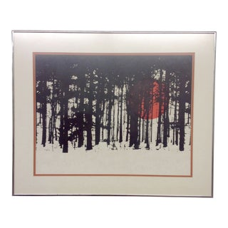 Monochrome Forest Screen Print with Red Sun