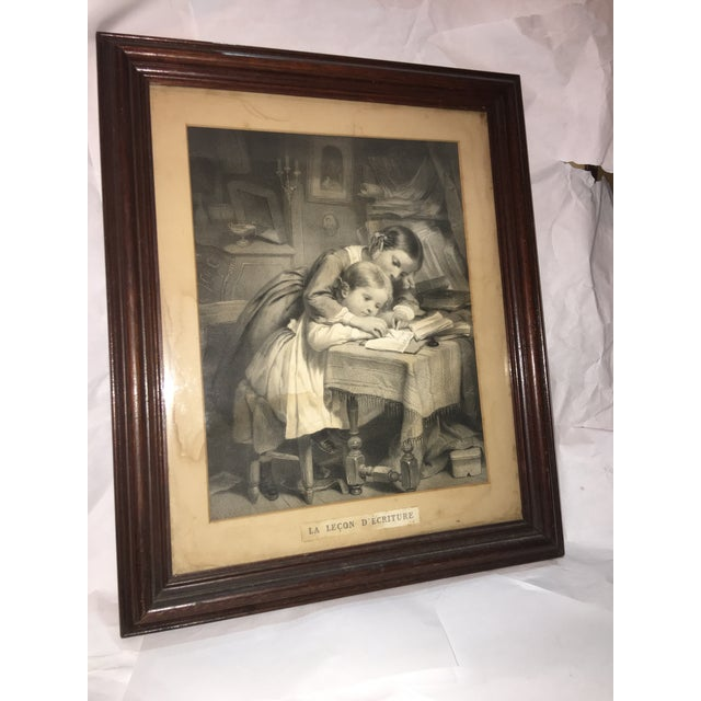 """19th Century """"The Writing Lesson"""" Lithograph - Image 2 of 11"""