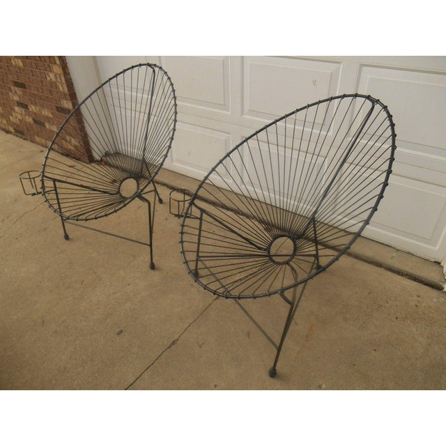 Mid-Century Modern Metal Egg Chairs - A Pair - Image 4 of 7