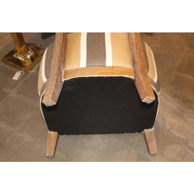 Image of Elegant Cerused Limed Oak Chairs, Newly Upholstered